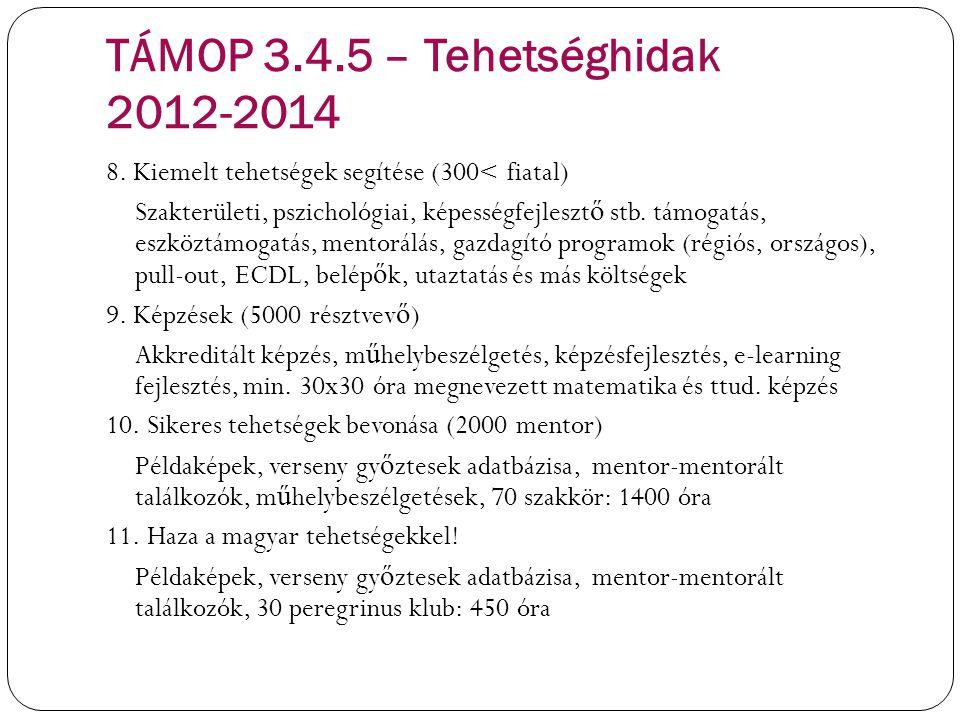 TÁMOP 3.4.5 – Tehetséghidak 2012-2014 8. Kiemelt tehetségek segítése (300< fiatal) Szakterületi, pszichológiai, képességfejleszt ő stb. támogatás, esz