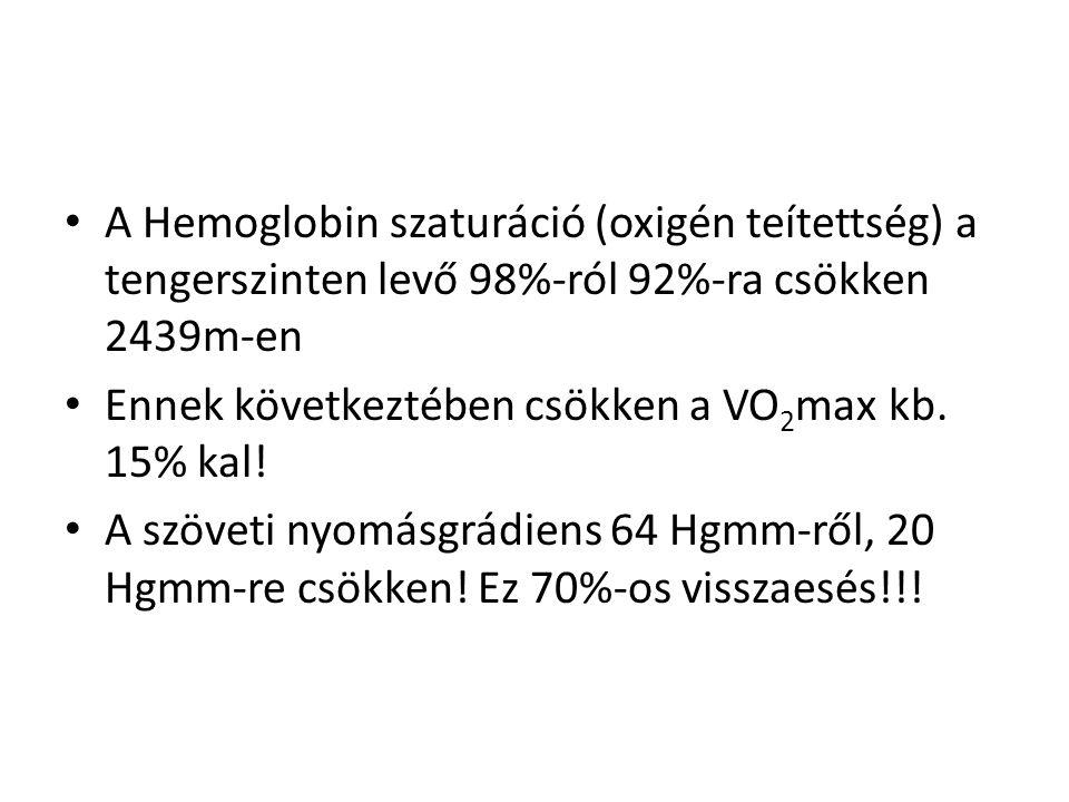 • A Hemoglobin szaturáció (oxigén teítettség) a tengerszinten levő 98%-ról 92%-ra csökken 2439m-en • Ennek következtében csökken a VO 2 max kb.