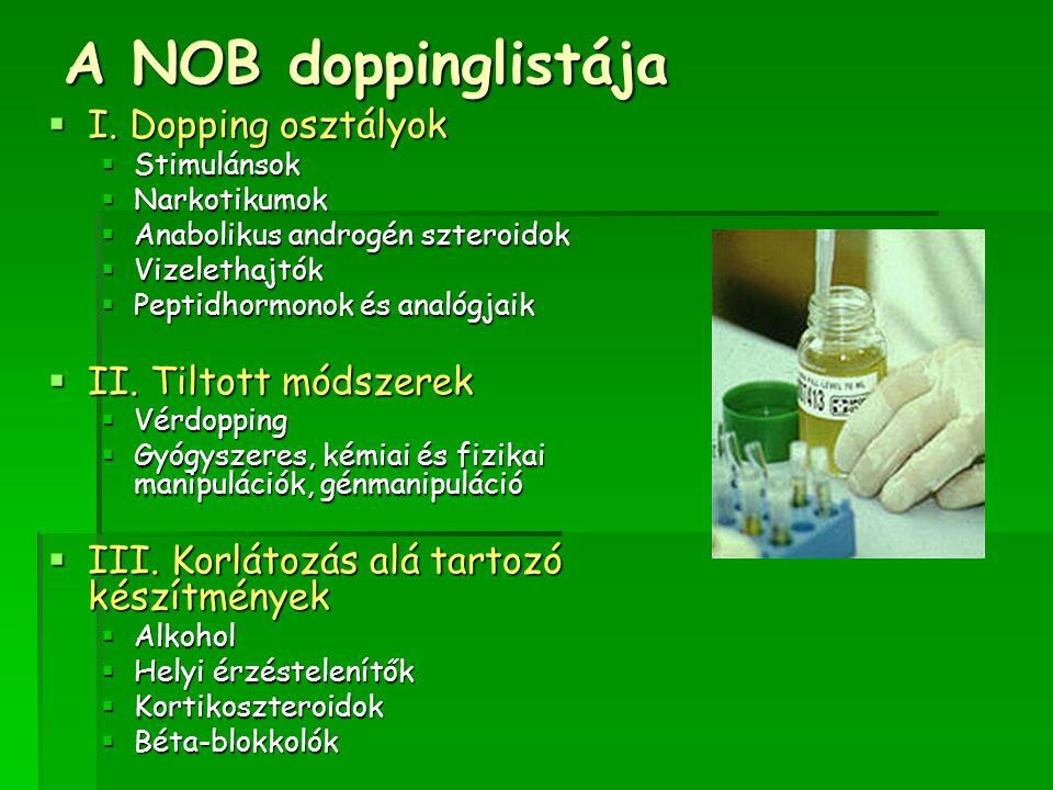 A NOB doppinglistája  I. Dopping osztályok  Stimulánsok  Narkotikumok  Anabolikus androgén szteroidok  Vizelethajtók  Peptidhormonok és analógja