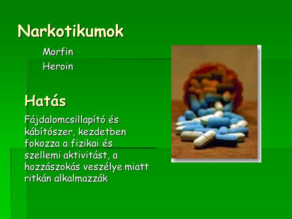 Narkotikumok MorfinHeroinHatás Fájdalomcsillapító és kábítószer, kezdetben fokozza a fizikai és szellemi aktivitást, a hozzászokás veszélye miatt ritkán alkalmazzák