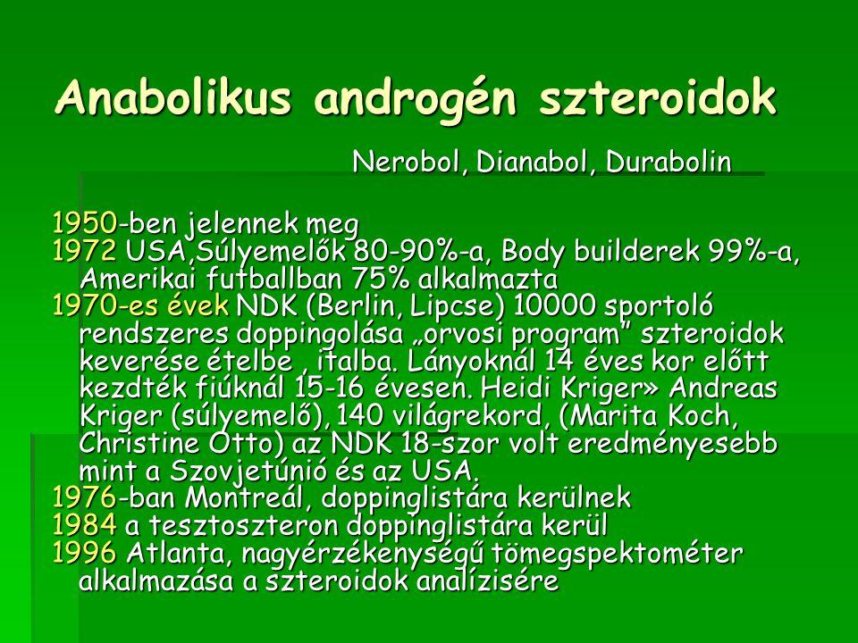 """Anabolikus androgén szteroidok Nerobol, Dianabol, Durabolin 1950-ben jelennek meg 1972 USA,Súlyemelők 80-90%-a, Body builderek 99%-a, Amerikai futballban 75% alkalmazta 1970-es évek NDK (Berlin, Lipcse) 10000 sportoló rendszeres doppingolása """"orvosi program szteroidok keverése ételbe, italba."""