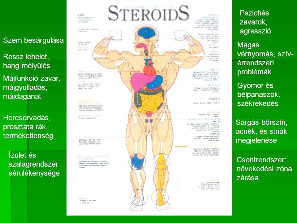 Ízület és szalagrendszer sérülékenysége Csontrendszer: növekedési zóna zárása Sárgás bőrszín, acnék, és striák megjelenése Heresorvadás, prosztata rák, terméketlenség Gyomor és bélpanaszok, székrekedés Májfunkció zavar, májgyulladás, májdaganat Magas vérnyomás, szív- érrendszeri problémák Rossz lehelet, hang mélyülés Szem besárgulása Pszichés zavarok, agresszió