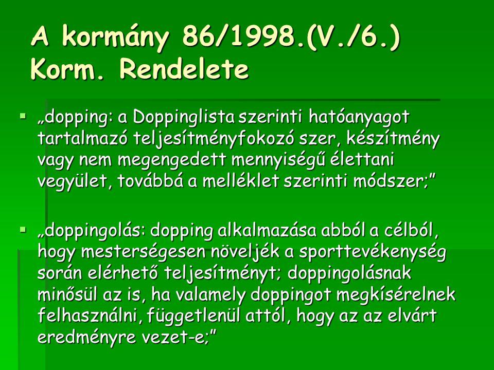 """A kormány 86/1998.(V./6.) Korm. Rendelete  """"dopping: a Doppinglista szerinti hatóanyagot tartalmazó teljesítményfokozó szer, készítmény vagy nem mege"""