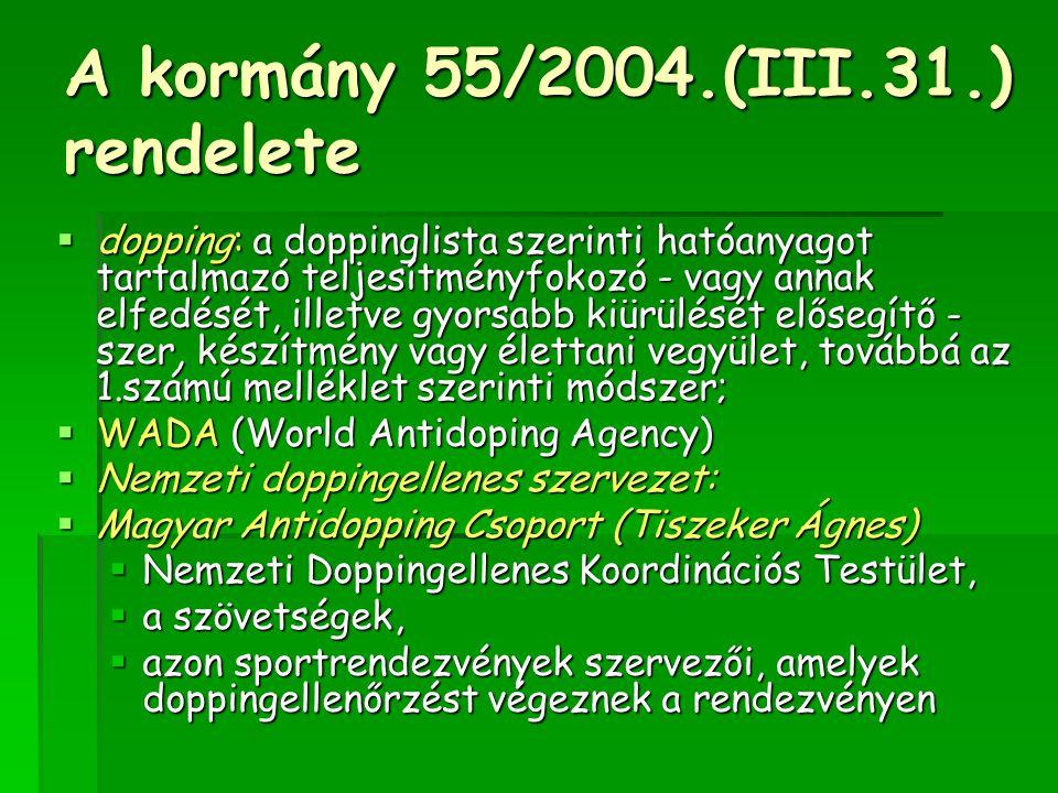 A kormány 55/2004.(III.31.) rendelete  dopping: a doppinglista szerinti hatóanyagot tartalmazó teljesítményfokozó - vagy annak elfedését, illetve gyo