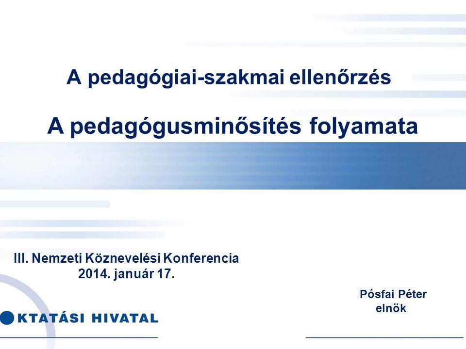 A pedagógiai-szakmai ellenőrzés III. Nemzeti Köznevelési Konferencia 2014. január 17. Pósfai Péter elnök A pedagógusminősítés folyamata
