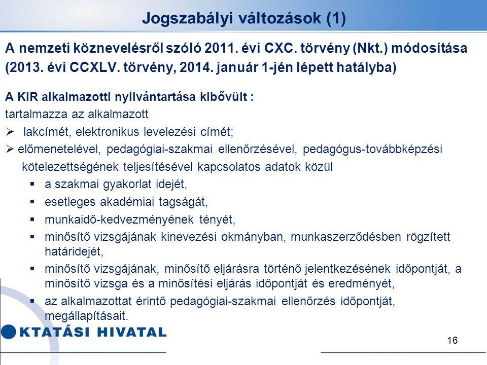 Jogszabályi változások (1) A nemzeti köznevelésről szóló 2011. évi CXC. törvény (Nkt.) módosítása (2013. évi CCXLV. törvény, 2014. január 1-jén lépett