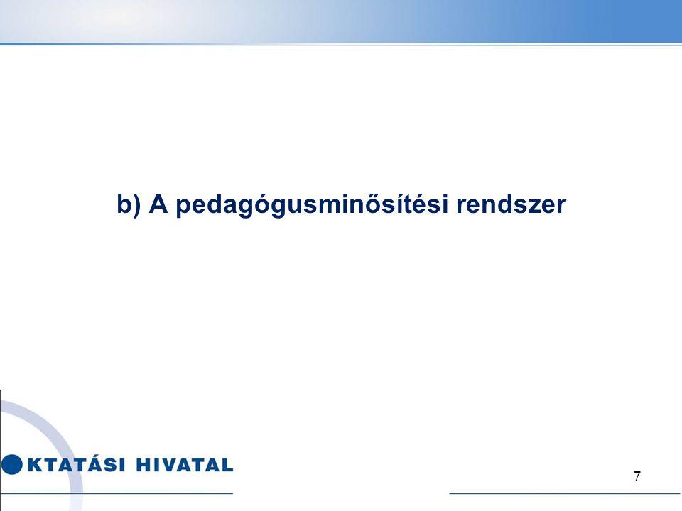 b) A pedagógusminősítési rendszer 7