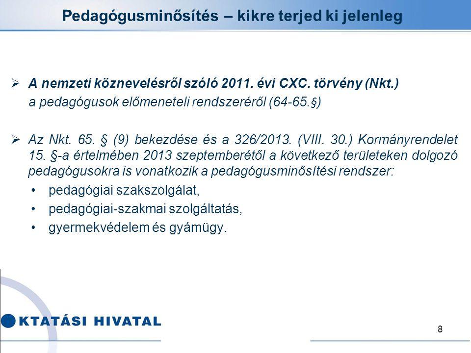Pedagógusminősítés – kikre terjed ki jelenleg  A nemzeti köznevelésről szóló 2011. évi CXC. törvény (Nkt.) a pedagógusok előmeneteli rendszeréről (64