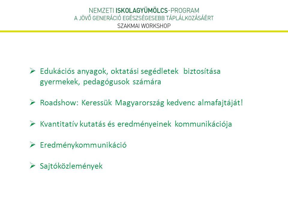  Edukációs anyagok, oktatási segédletek biztosítása gyermekek, pedagógusok számára  Roadshow: Keressük Magyarország kedvenc almafajtáját!  Kvantita