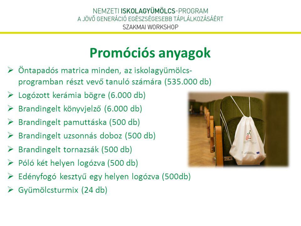  Öntapadós matrica minden, az iskolagyümölcs- programban részt vevő tanuló számára (535.000 db)  Logózott kerámia bögre (6.000 db)  Brandingelt kön