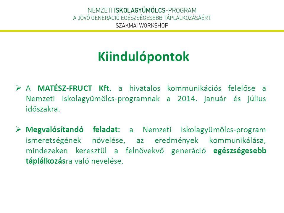  A MATÉSZ-FRUCT Kft. a hivatalos kommunikációs felelőse a Nemzeti Iskolagyümölcs-programnak a 2014. január és július időszakra.  Megvalósítandó fela