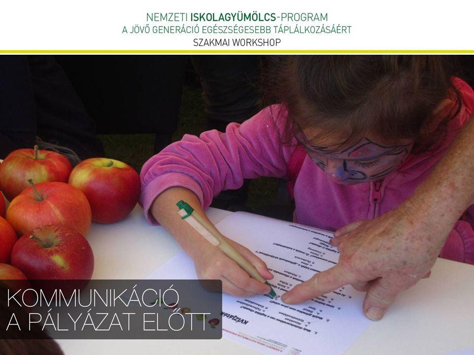 """Kommunikáció megvalósítása a gyakorlatban  Iskolagyümölcs – program arculatának kialakítása  programlogó  weboldal  Plakát minden résztvevő iskolának  Sajtónyilvános események szervezése  PR/ TCR kisfilm elkészítése és sugárzása M1, M2 csatornákon  szélesebb társadalmi rétegek elérése  """"Dobozra fel! országos rajzpályázat elindítása  gyermekek mozgósítása, bevonása"""