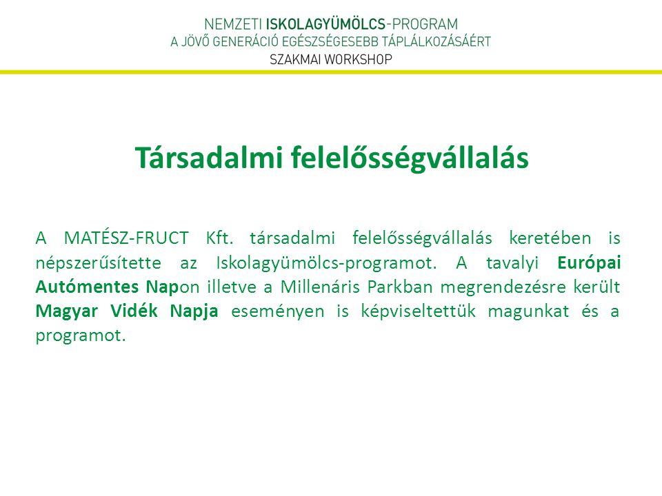 A MATÉSZ-FRUCT Kft. társadalmi felelősségvállalás keretében is népszerűsítette az Iskolagyümölcs-programot. A tavalyi Európai Autómentes Napon illetve