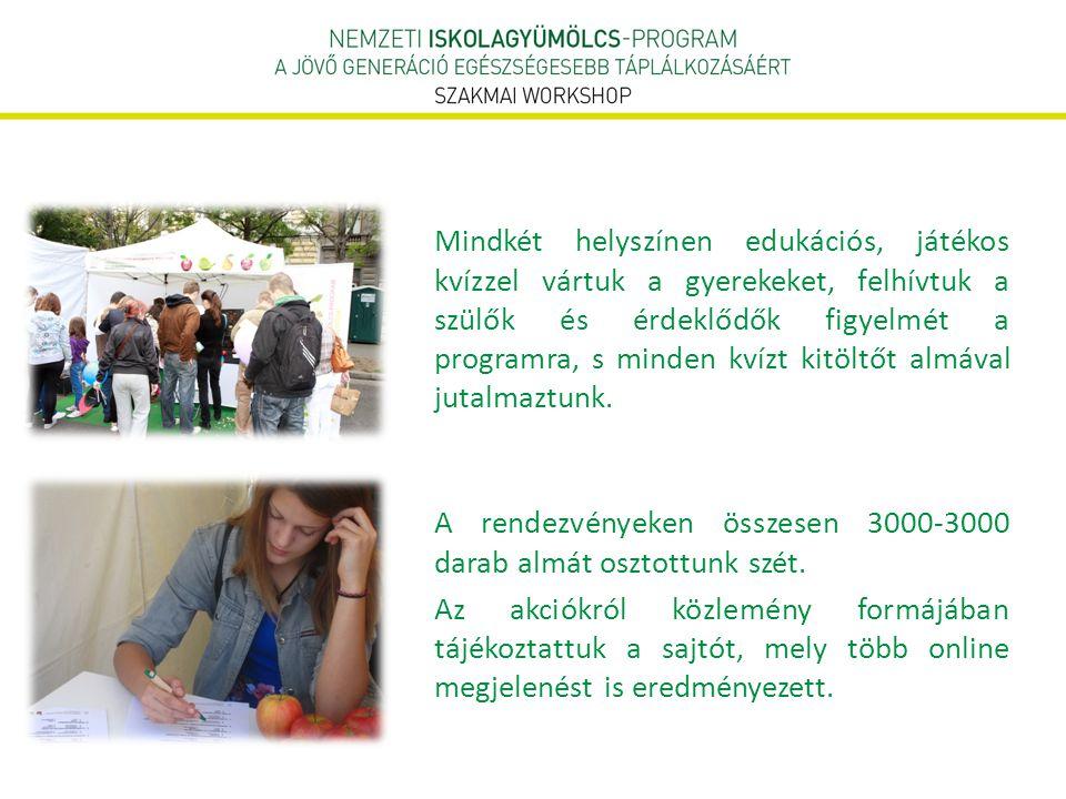  Edukációs anyagok, oktatási segédletek biztosítása gyermekek, pedagógusok számára  Roadshow: Keressük Magyarország kedvenc almafajtáját.