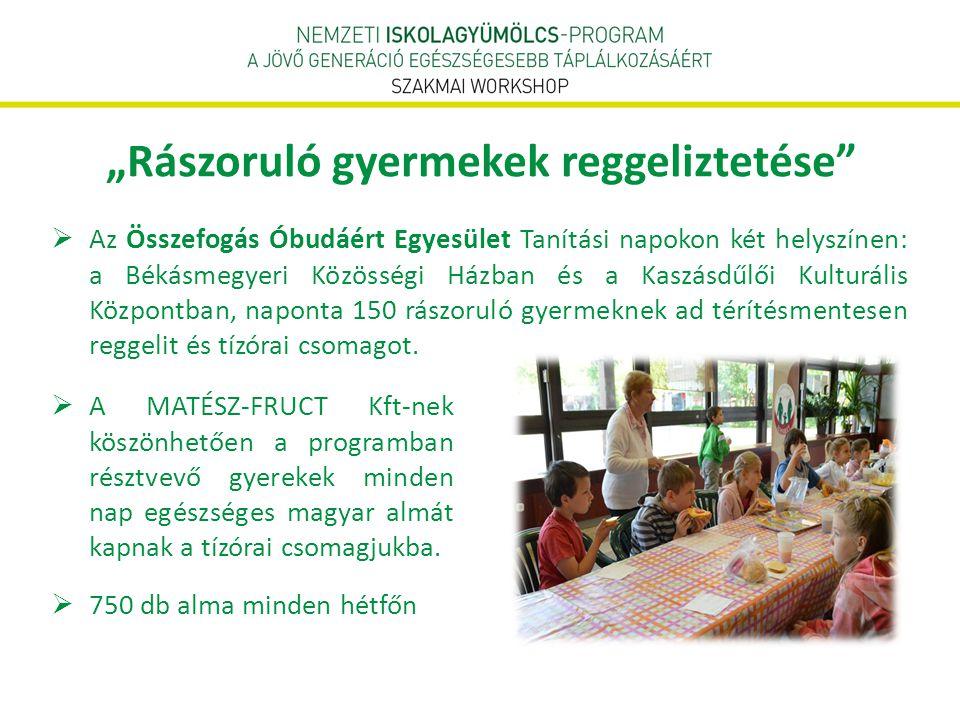 """""""Rászoruló gyermekek reggeliztetése""""  Az Összefogás Óbudáért Egyesület Tanítási napokon két helyszínen: a Békásmegyeri Közösségi Házban és a Kaszásdű"""