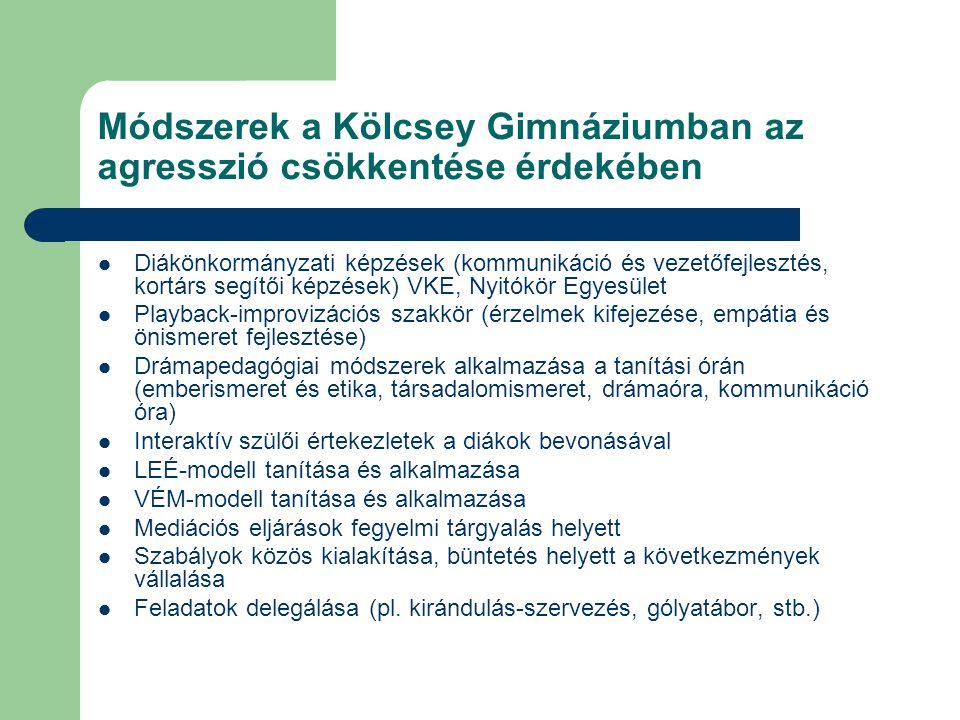 Módszerek a Kölcsey Gimnáziumban az agresszió csökkentése érdekében  Diákönkormányzati képzések (kommunikáció és vezetőfejlesztés, kortárs segítői ké