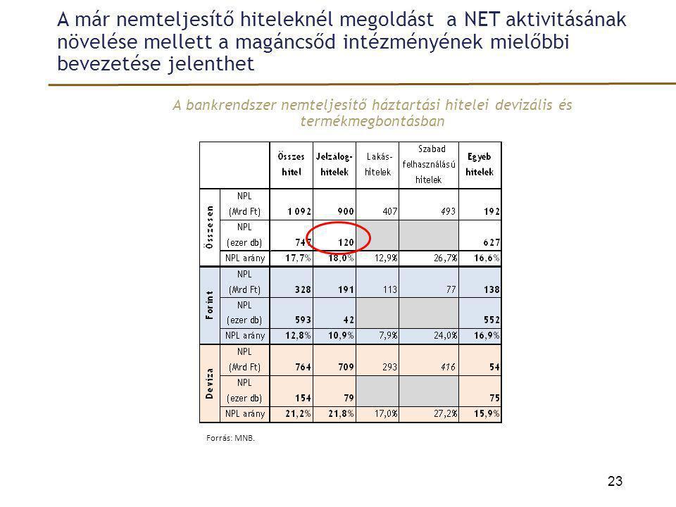 A már nemteljesítő hiteleknél megoldást a NET aktivitásának növelése mellett a magáncsőd intézményének mielőbbi bevezetése jelenthet A bankrendszer ne