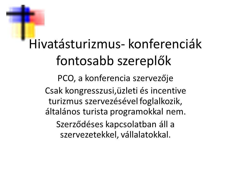 Hivatásturizmus- konferenciák fontosabb szereplők PCO, a konferencia szervezője Csak kongresszusi,üzleti és incentive turizmus szervezésével foglalkoz