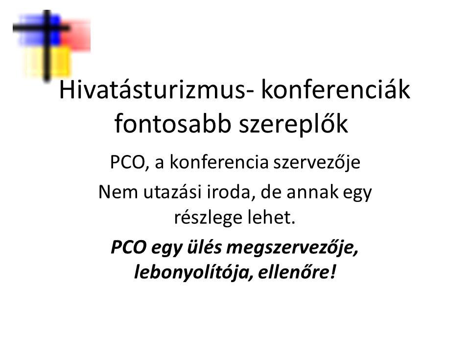 Hivatásturizmus- konferenciák fontosabb szereplők PCO, a konferencia szervezője Nem utazási iroda, de annak egy részlege lehet. PCO egy ülés megszerve