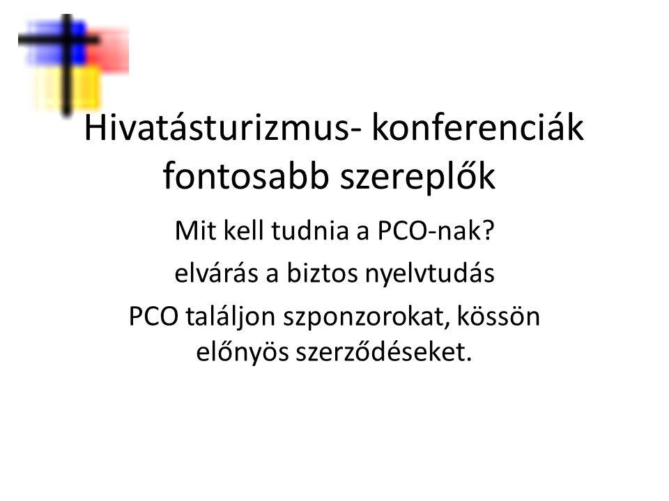 Hivatásturizmus- konferenciák fontosabb szereplők Mit kell tudnia a PCO-nak? elvárás a biztos nyelvtudás PCO találjon szponzorokat, kössön előnyös sze