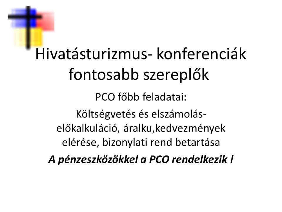 Hivatásturizmus- konferenciák fontosabb szereplők PCO főbb feladatai: Költségvetés és elszámolás- előkalkuláció, áralku,kedvezmények elérése, bizonyla