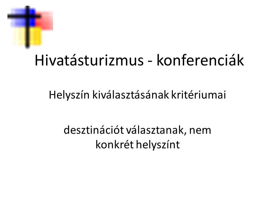 Hivatásturizmus - konferenciák Helyszín kiválasztásának kritériumai desztinációt választanak, nem konkrét helyszínt