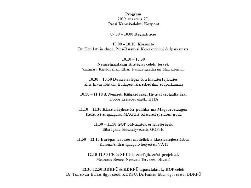 Program 2012. március 27. Pécsi Kereskedelmi Központ 09.30 – 10.00 Regisztráció 10.00 – 10.10 Köszöntő Dr. Kéri István elnök, Pécs-Baranyai Kereskedel