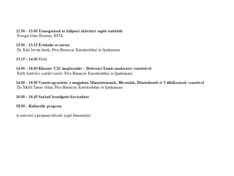12.50 – 13.00 Támogatások és külpiaci aktivitást segítő eszközök Pozsgai-Géra Honória, HITA 13.00 – 13.15 Értékelés és zárszó Dr. Kéri István elnök, P