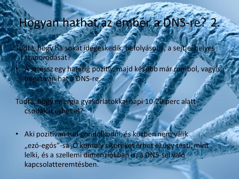 Hogyan hathat az ember a DNS-re? 2. Tudta, hogy ha sokat idegeskedik, befolyásolja, a sejtjei helyes szaporodását? • A stressz egy határig pozitív, ma