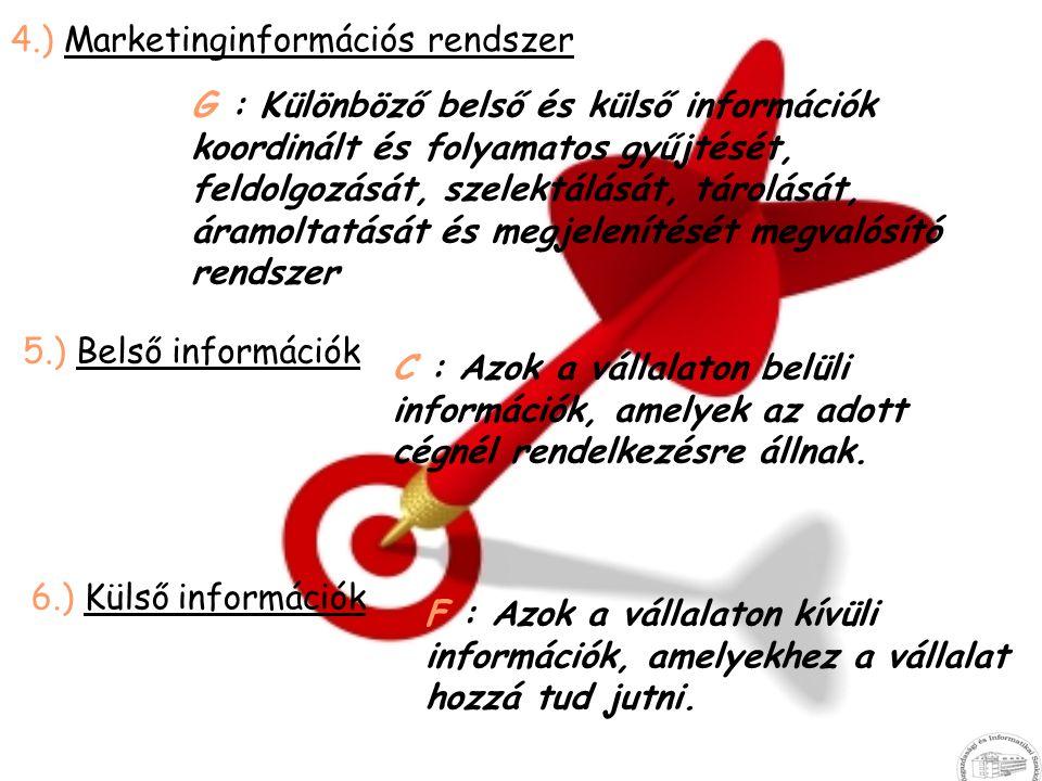4.) Marketinginformációs rendszer G : Különböző belső és külső információk koordinált és folyamatos gyűjtését, feldolgozását, szelektálását, tárolását
