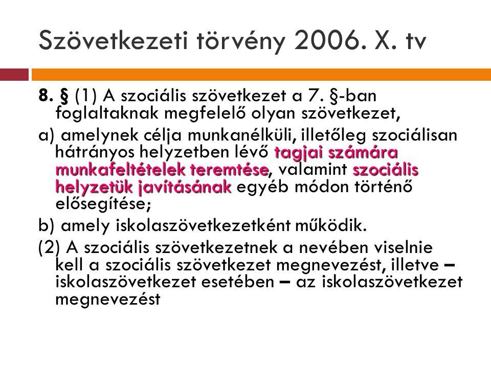 Szövetkezeti törvény 2006. X. tv 8. § (1) A szociális szövetkezet a 7. §-ban foglaltaknak megfelelő olyan szövetkezet, tagjai számára munkafeltételek