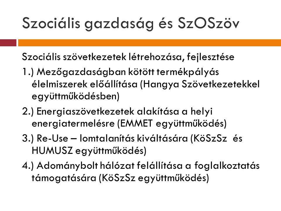 Szociális gazdaság és SzOSzöv Szociális szövetkezetek létrehozása, fejlesztése 1.) Mezőgazdaságban kötött termékpályás élelmiszerek előállítása (Hangy