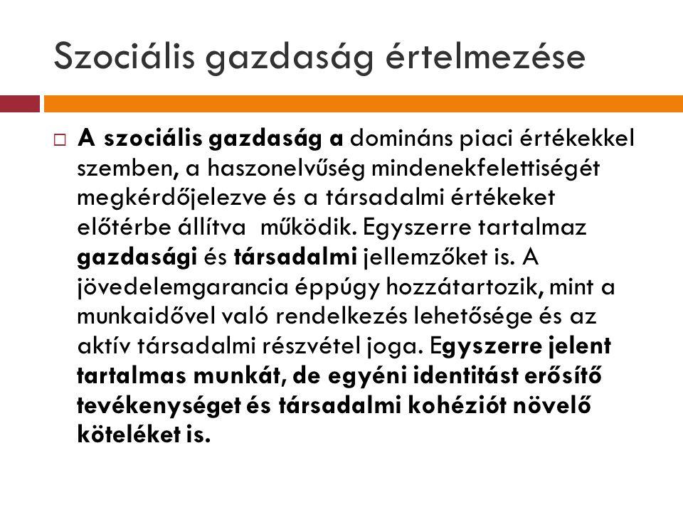 Szociális gazdaság értelmezése  A szociális gazdaság a domináns piaci értékekkel szemben, a haszonelvűség mindenekfelettiségét megkérdőjelezve és a t