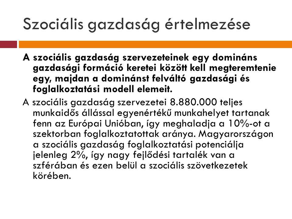 Szociális gazdaság értelmezése A szociális gazdaság szervezeteinek egy domináns gazdasági formáció keretei között kell megteremtenie egy, majdan a dom