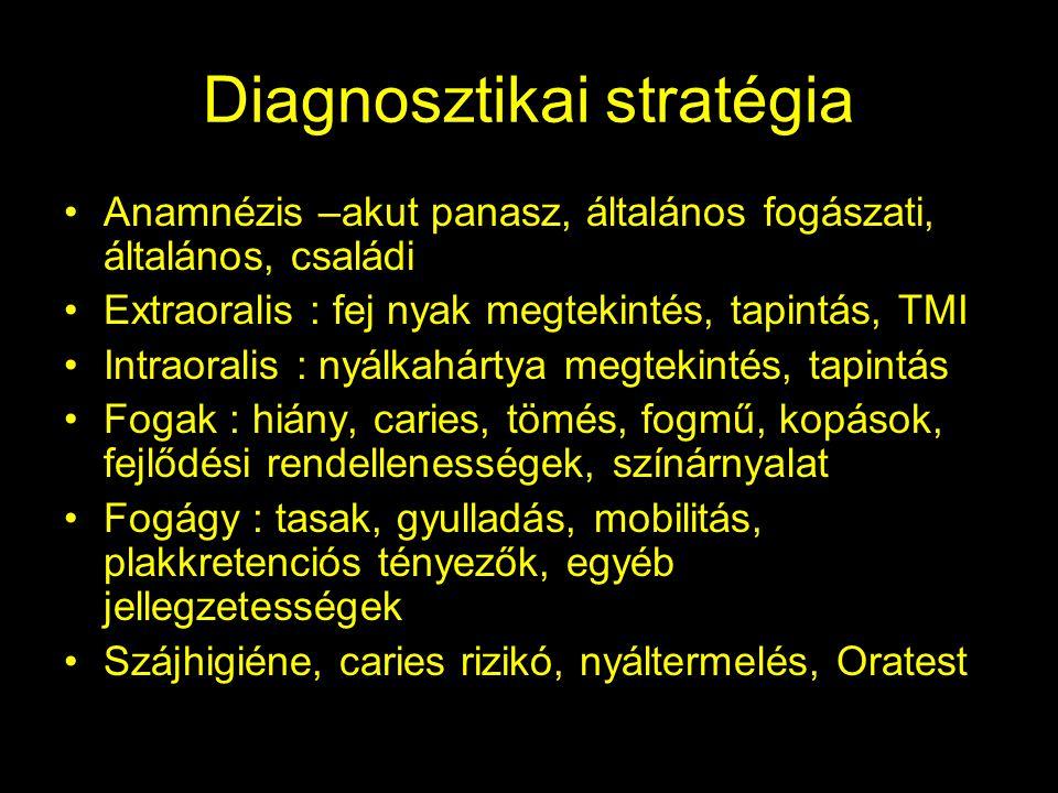 Diagnosztikai stratégia •Anamnézis –akut panasz, általános fogászati, általános, családi •Extraoralis : fej nyak megtekintés, tapintás, TMI •Intraoralis : nyálkahártya megtekintés, tapintás •Fogak : hiány, caries, tömés, fogmű, kopások, fejlődési rendellenességek, színárnyalat •Fogágy : tasak, gyulladás, mobilitás, plakkretenciós tényezők, egyéb jellegzetességek •Szájhigiéne, caries rizikó, nyáltermelés, Oratest
