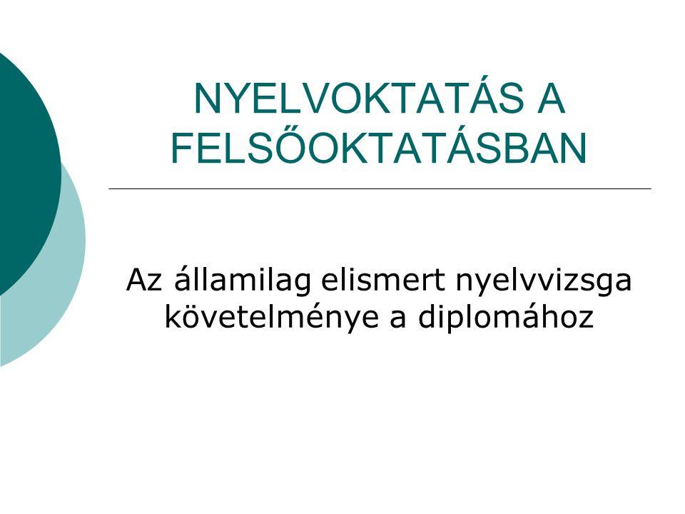NYELVOKTATÁS A FELSŐOKTATÁSBAN Az államilag elismert nyelvvizsga követelménye a diplomához