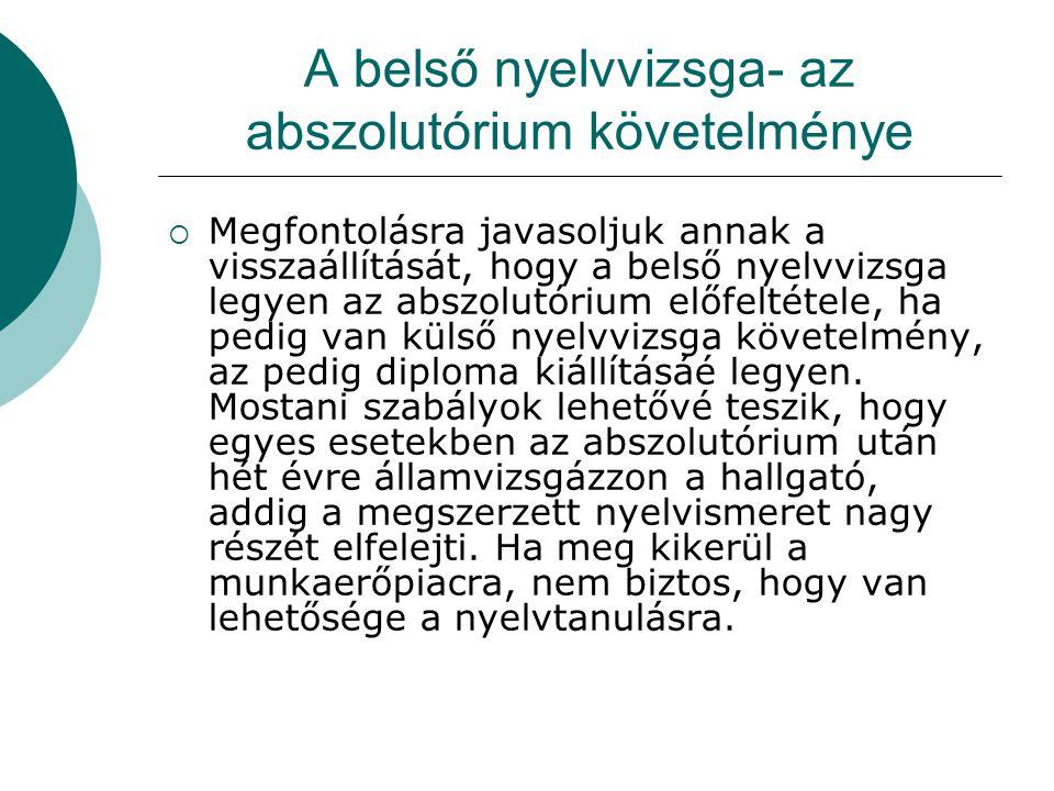 A belső nyelvvizsga- az abszolutórium követelménye  Megfontolásra javasoljuk annak a visszaállítását, hogy a belső nyelvvizsga legyen az abszolutóriu