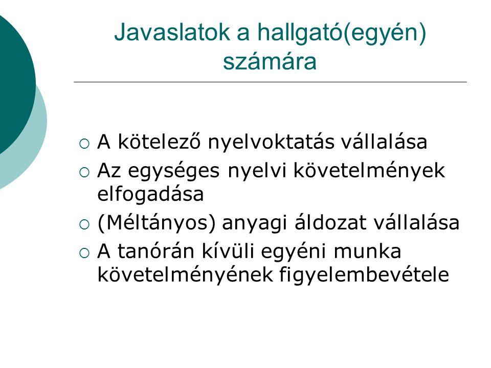 Javaslatok a hallgató(egyén) számára  A kötelező nyelvoktatás vállalása  Az egységes nyelvi követelmények elfogadása  (Méltányos) anyagi áldozat vá