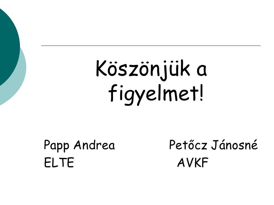 Köszönjük a figyelmet! Papp Andrea Petőcz Jánosné ELTE AVKF