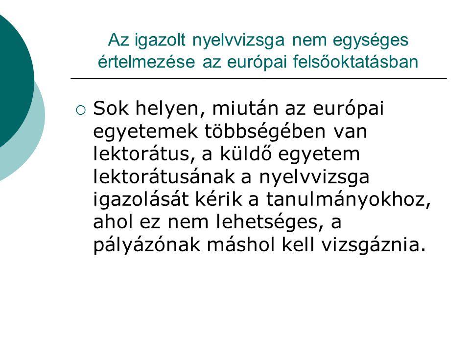 Az igazolt nyelvvizsga nem egységes értelmezése az európai felsőoktatásban  Sok helyen, miután az európai egyetemek többségében van lektorátus, a kül