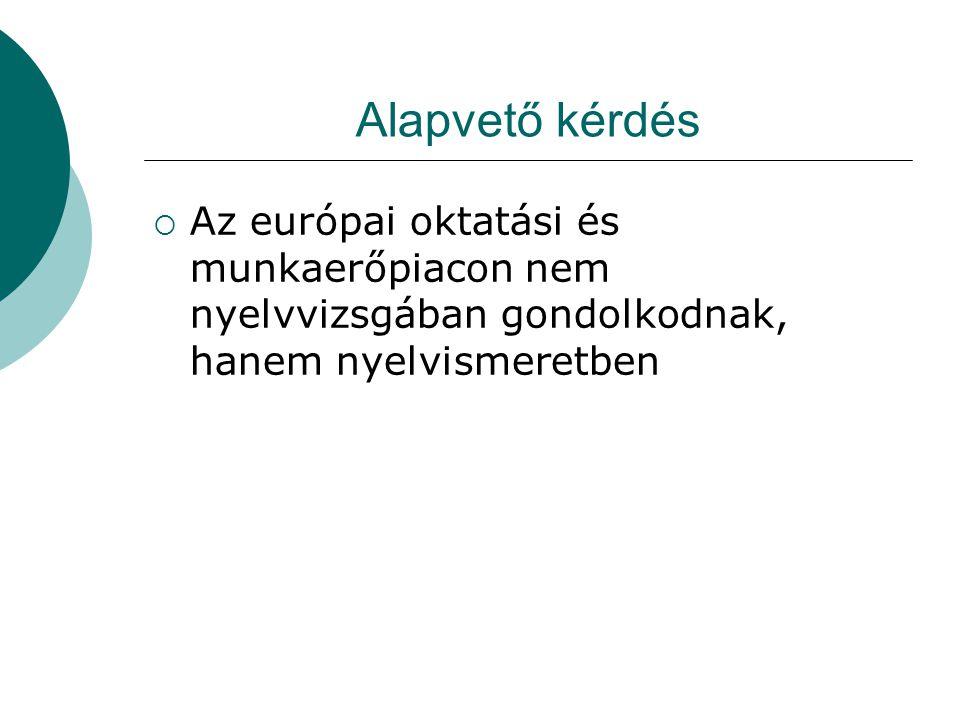Alapvető kérdés  Az európai oktatási és munkaerőpiacon nem nyelvvizsgában gondolkodnak, hanem nyelvismeretben