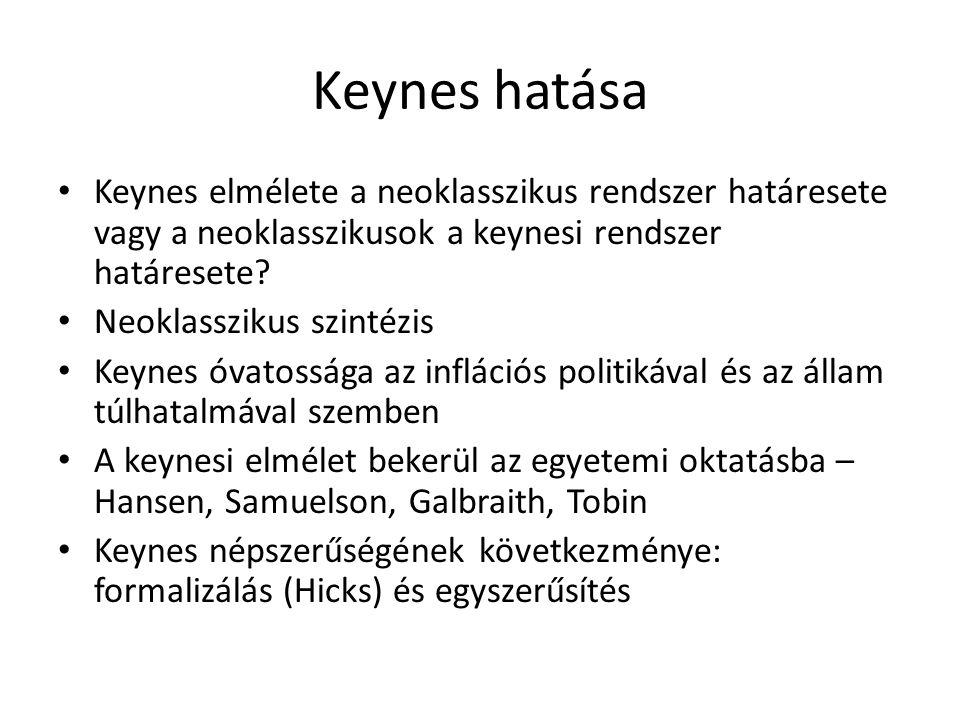 Keynes hatása • Keynes elmélete a neoklasszikus rendszer határesete vagy a neoklasszikusok a keynesi rendszer határesete.
