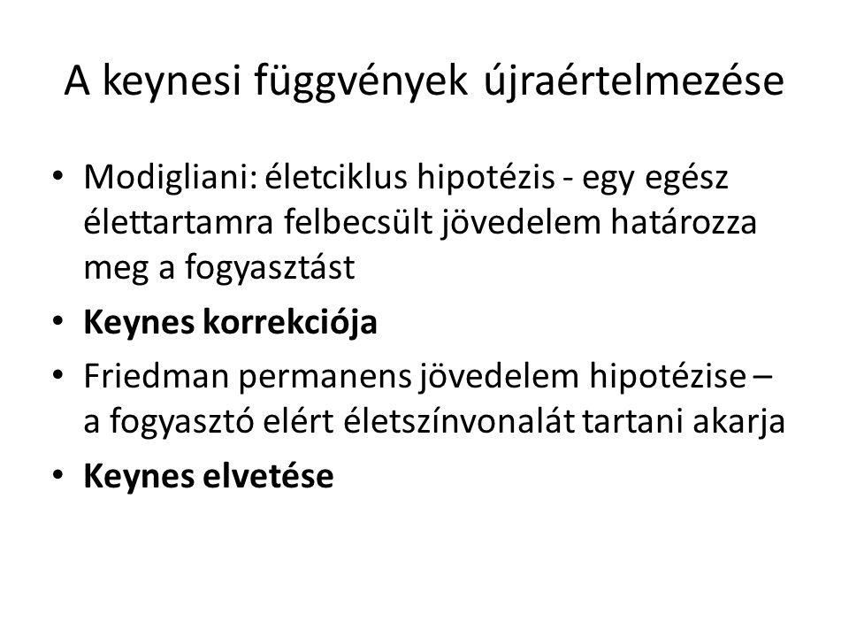 A keynesi függvények újraértelmezése • Modigliani: életciklus hipotézis - egy egész élettartamra felbecsült jövedelem határozza meg a fogyasztást • Keynes korrekciója • Friedman permanens jövedelem hipotézise – a fogyasztó elért életszínvonalát tartani akarja • Keynes elvetése