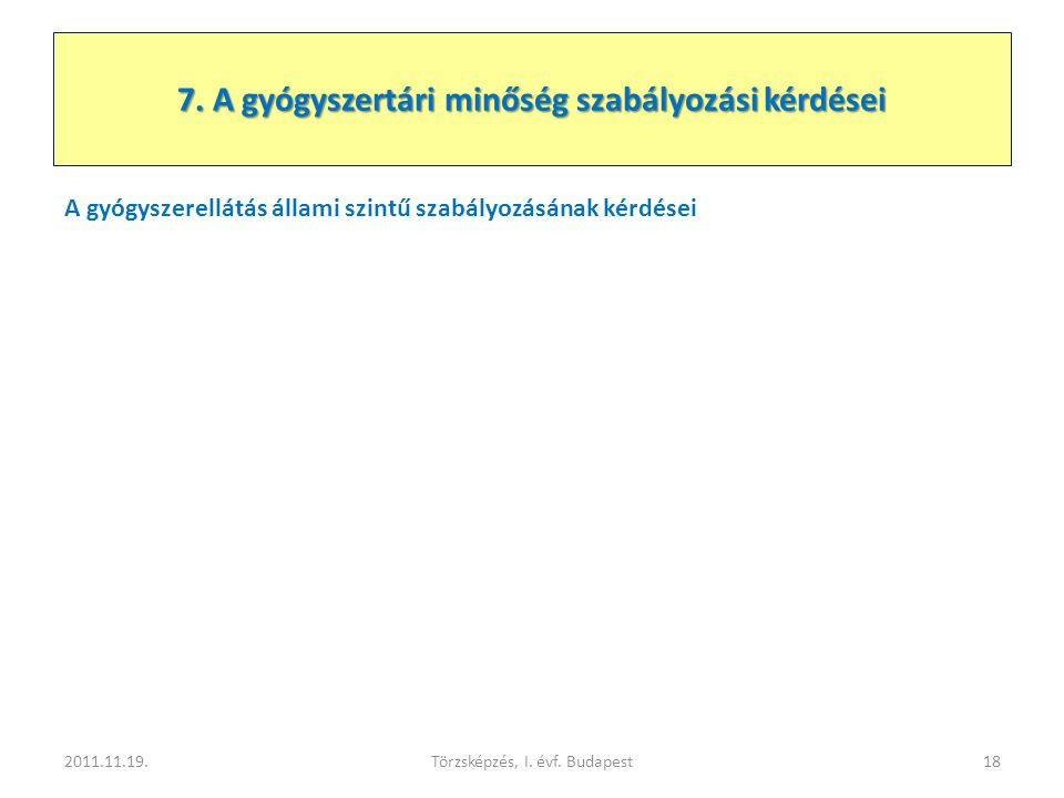 A gyógyszerellátás állami szintű szabályozásának kérdései 2011.11.19.Törzsképzés, I. évf. Budapest18 7. A gyógyszertári minőség szabályozási kérdései