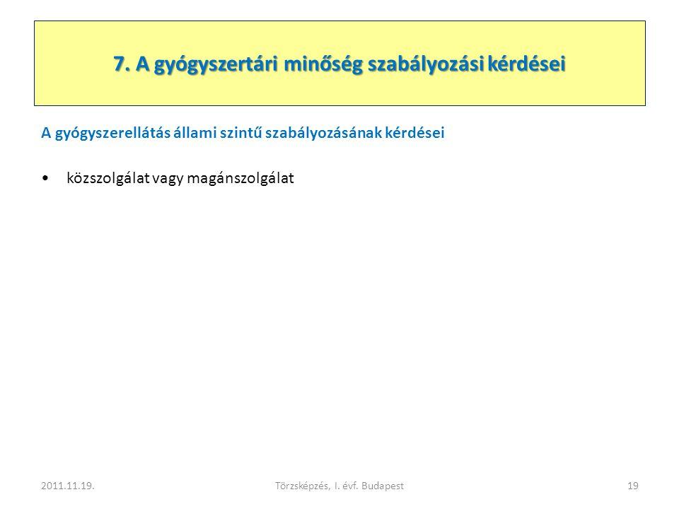 A gyógyszerellátás állami szintű szabályozásának kérdései •közszolgálat vagy magánszolgálat 2011.11.19.Törzsképzés, I. évf. Budapest19 7. A gyógyszert