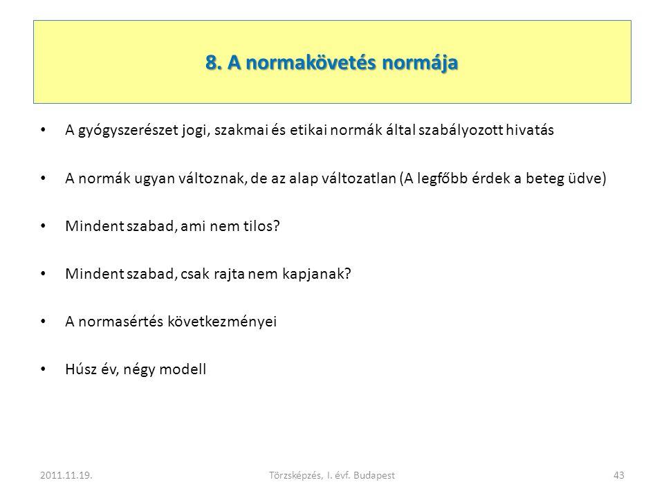 8. A normakövetés normája • A gyógyszerészet jogi, szakmai és etikai normák által szabályozott hivatás • A normák ugyan változnak, de az alap változat
