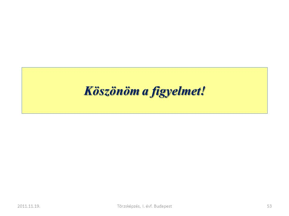 Köszönöm a figyelmet! 2011.11.19.Törzsképzés, I. évf. Budapest53