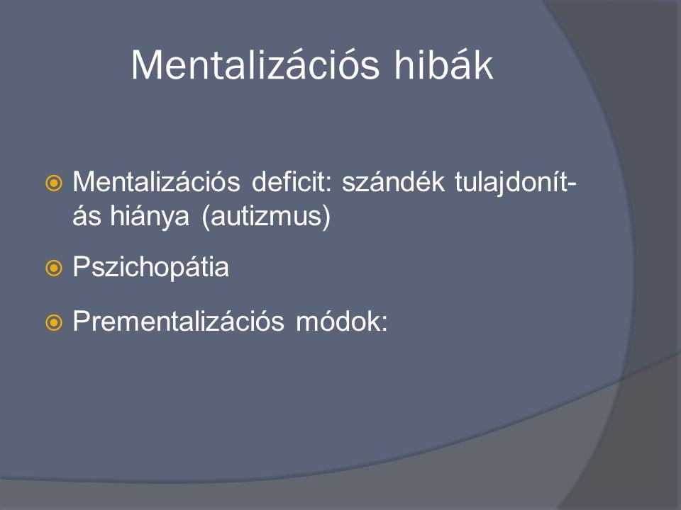 Mentalizációs hibák  Mentalizációs deficit: szándék tulajdonít- ás hiánya (autizmus)  Pszichopátia  Prementalizációs módok: