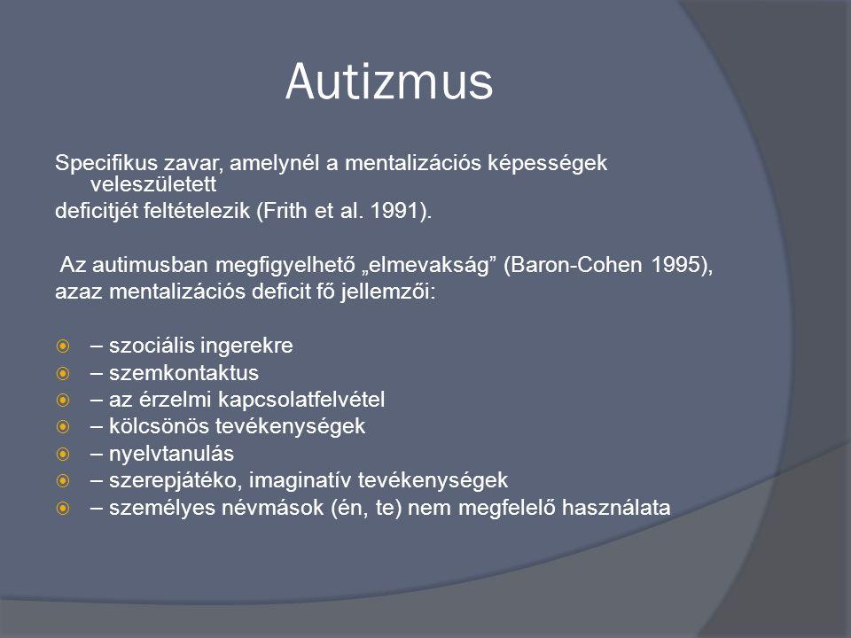 Autizmus Specifikus zavar, amelynél a mentalizációs képességek veleszületett deficitjét feltételezik (Frith et al.