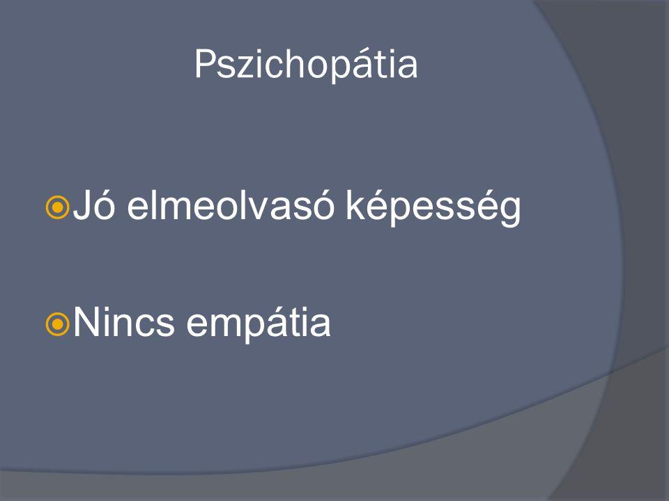 Pszichopátia  Jó elmeolvasó képesség  Nincs empátia